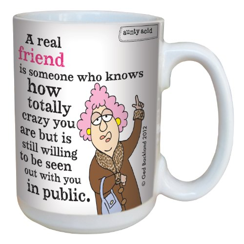 Hilarious Aunty Acid Real Friends Large Coffee Mug, 15-Ounce Cup lm43829 - Funny, Unique Friendship Gag Gifts for Best Friends - Tree-Free (Friendship Cup)