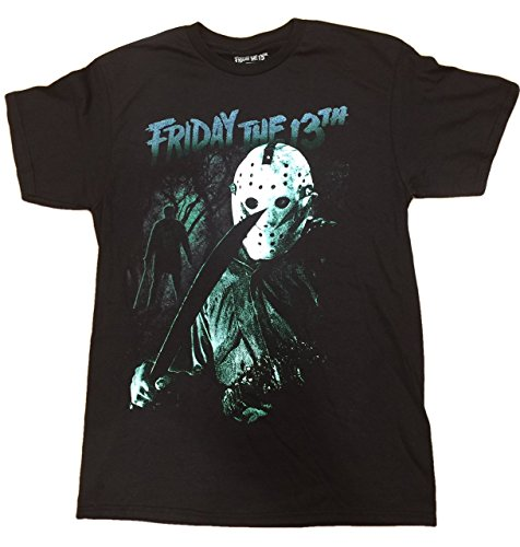 90s Horror Costumes (Jason Mask Friday The 13th Halloween Horror Film Scary Tee T-Shirt (Large))