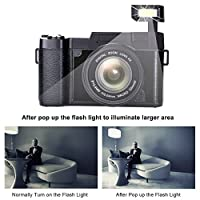 Digital Camera 24.0 MP Vlogging Camera Full HD 1080P 3.0 Inch Camera with Flip Screen Retractable Flashlight from COMI