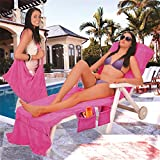 KATHER Lounge Chair Seat Cover,Microfiber Beach Bag Garden Sun Lounger Towel Chair Beach Towel Pockets Quick Drying Towels