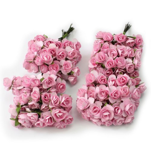(144pc Beautiful Artificial Paper Rose Flower Wedding Card Embellishment - Pink)