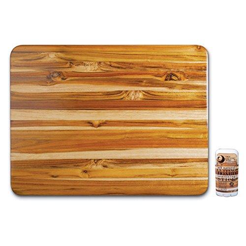 Proteak Edge Grain Teak 24 X 18 Inch Rectangular Hand-Grip Cutting Board with Seasoning Stick