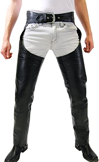 Men/'s Real Leather Chaps With Detachable Codpeice Bikers Leather Chaps