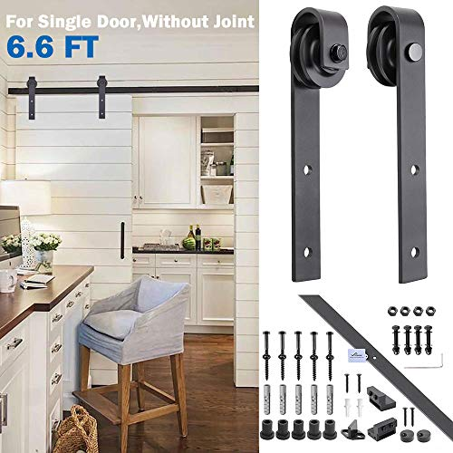 YesHom 6.6ft Heavy Duty Steel Sliding Barn Wood Door Closet Hardware Track Kit System Set Single Door J Shape Black