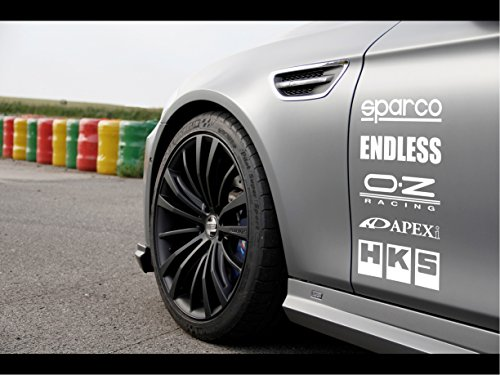 Racing Sponsors Sport Car Sticker Decal White ()