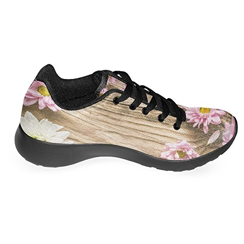 InterestPrint Womens Jogging Running Sneaker Lightweight Go Easy Walking Casual Comfort Running Shoes Pink and White Flower On The Wooden Multi 1 J8ZKoM