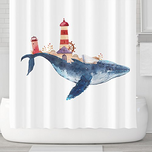 Cute Cartoon Animals Shower Curtains with Hooks, Watercolor Whale City Ocean, Waterproof mildew Resistant, 72 x 72 inches, Children Bathroom Gift, Blue Red (Whale - Kids City Ocean