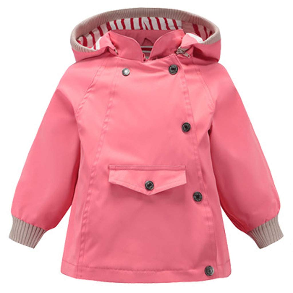 BFYOU Toddler Kid Baby Boy Cartoon Animal Hooded Coat Jacket Outwear Windproof Outfits Pink by BFYOU_ Girl Clothing
