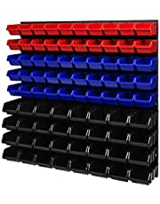 PAFEN Wandplank 772 x 780 mm - opslagsysteem opslagbakken lade plank - wandplaten 82 stuks dozen (rood/blauw/zwart)