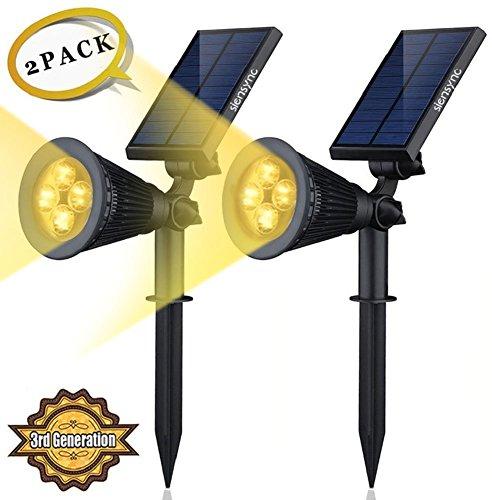 Siensync Warmweiße LED Solarleuchten, 2 Stück 3rd Generation 2-in-1 Wasserdicht Drahtlos Solarbetriebene Gartenleuchten für Hof, Wand, Garten, Rasen, Wege, Auffahrt, Terrasse