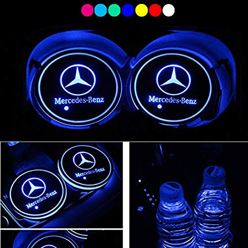 Water Resistant Holder (Lntly LED Car Logo Cup Holder Pad Waterproof Bottle Drinks Coaster Built-in Light 7 Colors Changing USB Charging Mat LED Cup Mat Car Atmosphere Lamp 2PCS)