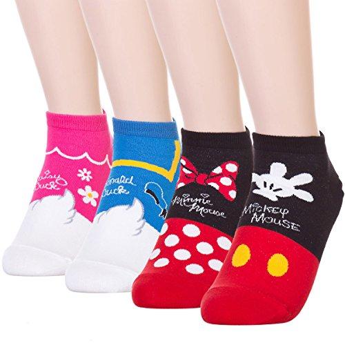Cute Back Mickey Donald Character Sneakers Socks (4 (Pooh Socks)