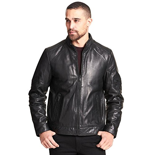 Wilsons Leather Mens Moto-Inspired Genuine Leather Jacket W/Zipper Details M BL (Wilsons Leather Jacket Men)