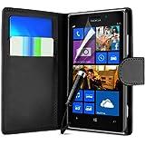 Supergets® Hülle für Nokia Lumia 925 Buch-Stil Imitat Ledertasche Hülle in Schwarz, Folie für S3, Eingabestift