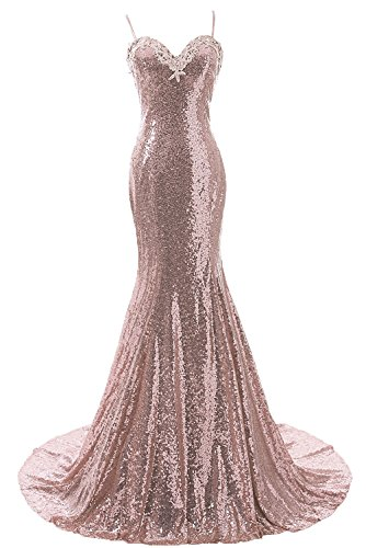 DYS Women\'s Straps Mermaid Prom Dress Open Back Sequins Bridesmaid ...
