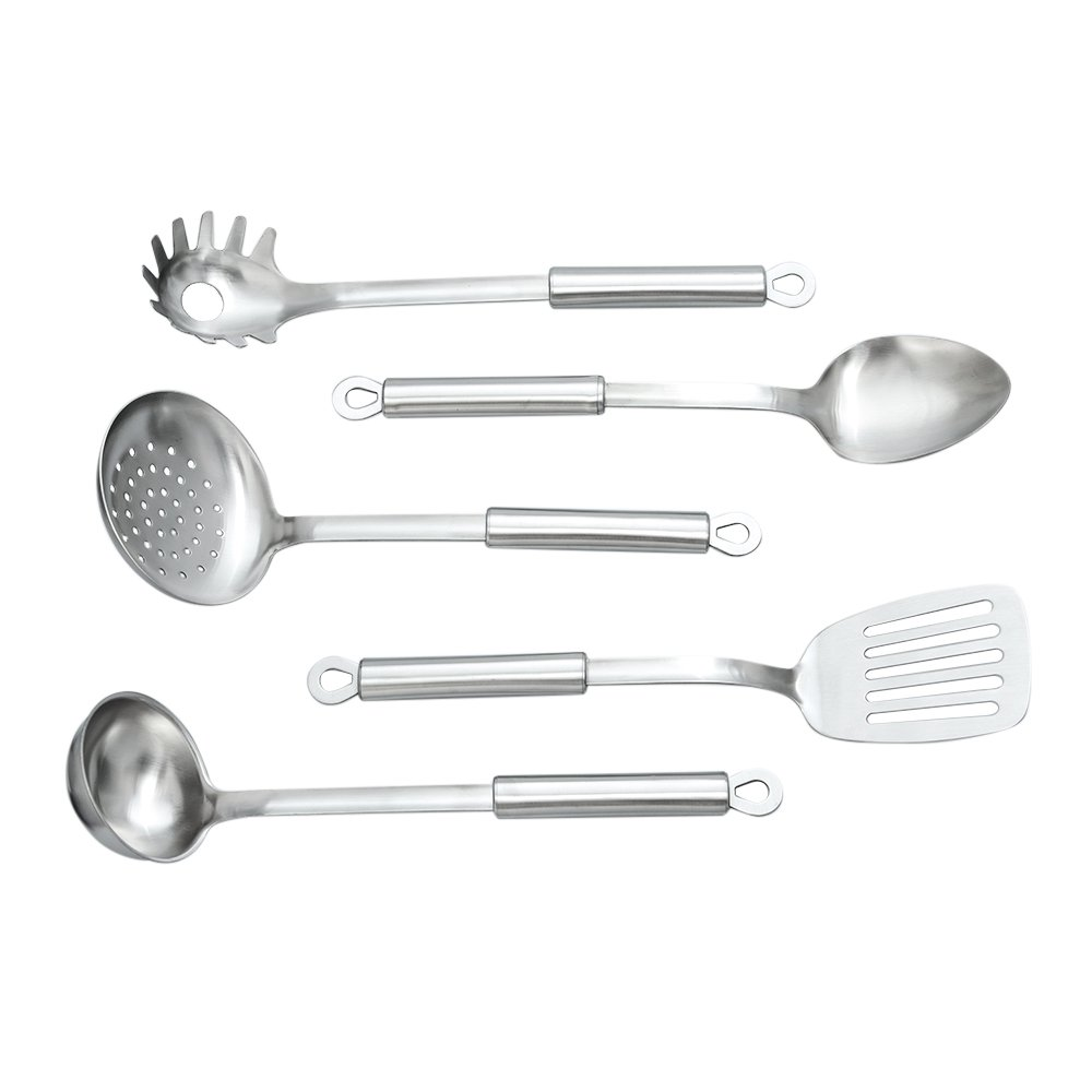 TAFOND 5 Piece Stainless Steel kitchen Utensil Set Spaghetti Spoon,Spoon,Slotted Spatula,Skimmer,Soup Ladle
