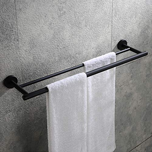 Hoooh Double Bath Towel Bar, 24-Inch Matte Black Stainless Steel Hand Towel Rack for Bathroom, A102L60-BK