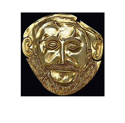 Estia Creations Mask Agamemnon Gold Plated Sculpture - Mycenaean King Funerary Mask Replica