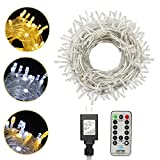 XTF2015 3 Color Modes Christmas Lights, 82FT 200 LED Christmas String Lights, End-to-End Plug Fairy Lights with Remote and Timer - 9 Lighting Modes (Warm White, White, Combination)