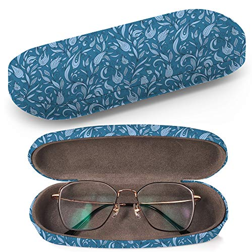 (Hard Shell Glasses Protective Case with Cleaning Cloth for Eyeglasses and Sunglasses - Henna Mehndi Tattoo Flowers Doodles)