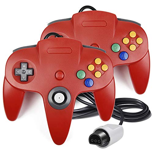 (2 Pack N64 Controller, iNNEXT Classic Wired N64 64-bit Gamepad Joystick for Ultra 64 Video Game Console N64 System Mario Kart (Red))