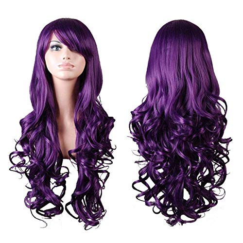 Halloween Costumes With Purple (Rbenxia Curly Cosplay Wig Long Hair Heat Resistant Spiral Costume Wigs Anime Fashion Wavy Curly Cosplay Daily Party Purple 32