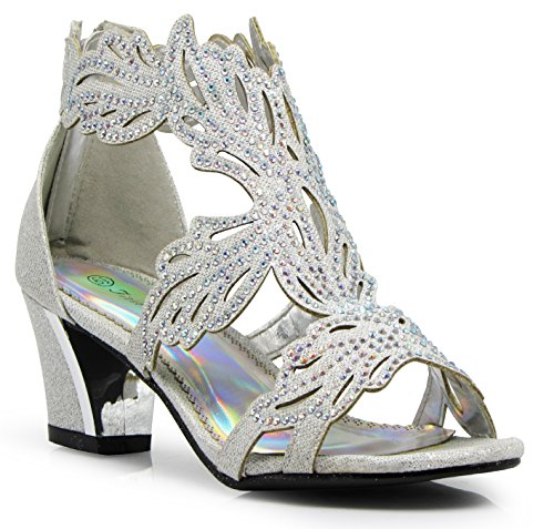 Enzo Romeo Lime03N Womens Open Toe Mid Heel Wedding Rhinestone Gladiator Sandal Wedge Shoes (7, Silver)