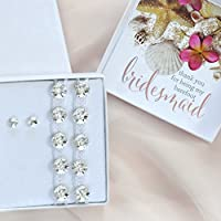 Bridesmaid gift box with 'Thank you for being my barefoot bridesmaid' card - simple stud Swarovski earrings & barefoot sandals, BM