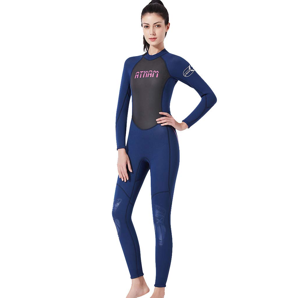 bluee SUSENSTONE One Piece Swimsuit Summer Print Long Sleeve Surf Dive Bathing Suit