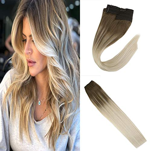 JoYoung 12inch 100% Remy Halo Hair Extensions Human Hair Balayage Light  Brown Fading to Blonde