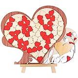 Creawoo Wooden Wedding Guest Book Alternative Unique Heart Drop Box Design - Wedding Guest book Gift Idea, 72pcs Hearts for Guest's Signature.