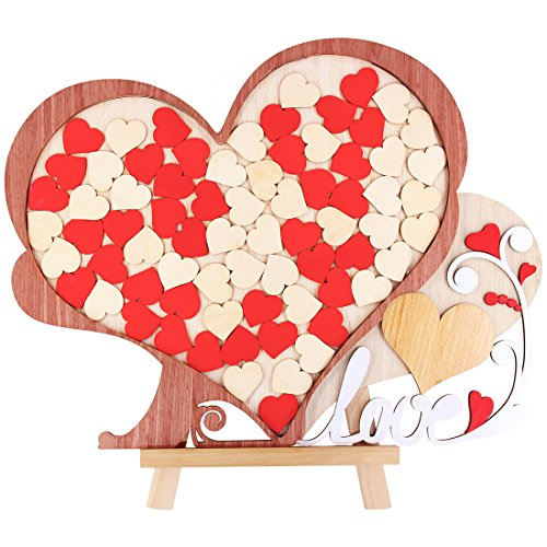 Heart Box Design (Creawoo Wedding Guest Book Alternative Heart Drop-Unique Wooden Drop Box Design Wedding Guest book Gift Idea, 72pcs Hearts for Guest's Signature)
