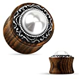 PAIR Imitation Pearl w/Tribal Pattern Casting Wood Saddle Plugs Body Jewelry (0g (8mm))