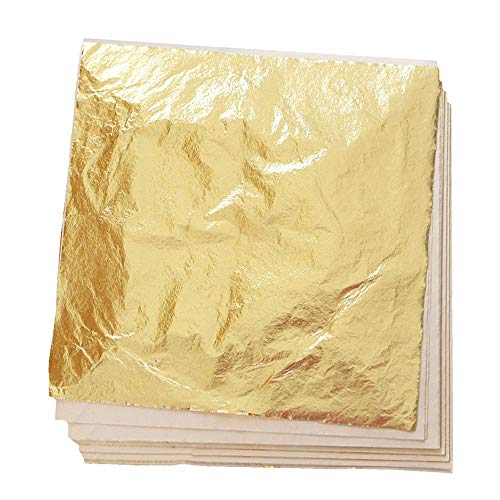 (Bullet Face 100 Sheets 5.5 by 5.5 Inches Imitation Gold Leaf Foil Paper for Arts, Gilding Crafting, Decoration DIY)