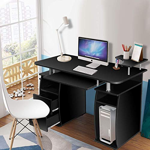 - Tangkula Computer Desk, Wood Home Office Desk, Laptop PC Computer Work Station, with Storage Drawer, Pull-Out Keyboard Tray & Monitor and Printer Shelf (Black)