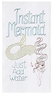 Instant Mermaid Just Add Water Embroidered Flour Sack Kitchen Dishtowel