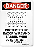 SmartSign'Danger: Protected By Razor Wire & Barbed Wire', Aluminum Sign, 14' x 10'