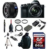 Sony ILCE7K/B a7K Full-Frame Interchangeable Digital Lens Camera with 28-70mm Lens w/ Sony SEL35F28Z 35mm F2.8 Sonnar T FE ZA Full Frame Prime Lens, Deluxe Kit 64GB