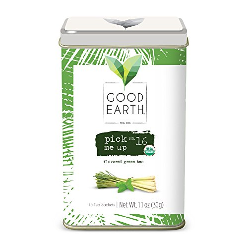 Good Earth Tea Pick Me Up - Premium Organic Tea Sachets - Strong, aromatic green tea with savory lemongrass flavor, peppermint freshness, and notes of spice - Decaffeinated, 15 Count - Good Earth Mint Tea
