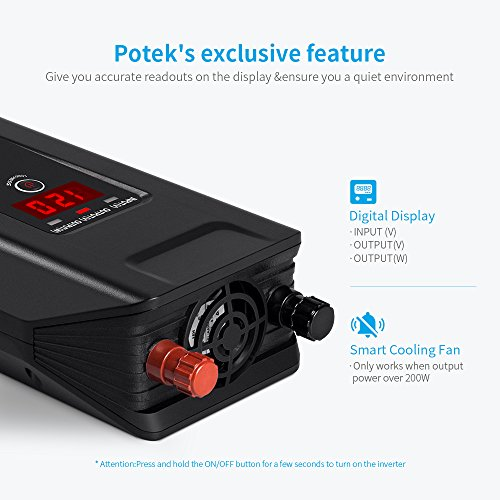 POTEK 500W Power Inverter DC 12V to 110V AC Car Converter with Digital Display Dual AC Outlets and Dual USB Charging Ports for Tablets, Laptop and Smartphones by POTEK (Image #2)