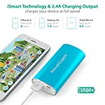 RAVPower 6700mAh Power Bank 27 2X Faster Charger: 2A input can save half of the time to fully charge the 6700mAh portable charger (please use a 2A or higher output charger); 2.4A output makes it charge other devices 2X faster than other chargers. The maximum input and output for the fastest and strongest charging experience. Exclusive iSmart Technology: This battery backup charge faster and smarter than others, automatically detects and delivers the optimal charging current for any connected device- ensuring the fastest and most efficient charge. Compact Body, Amazing Capacity: Fitting in the palm of your hand, up to two charges for iPhone 6, or more than one charge for large phones like 6 Plus, Note 4, etc.