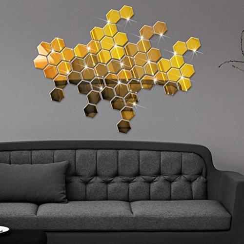 3D Wall Sticker,Bokeley 12Pcs 3D Mirror Hexagon Honeycomb Vinyl Removable Wall Sticker Decal Home Decor Art DIY (Gold) ()