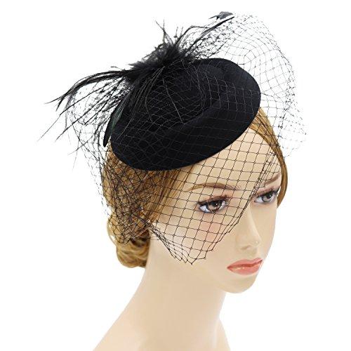 Wheebo Fascinator Hat Flower Feather Mesh Net Veil Party Wedding Headband for Women Girls (D-Black) by Wheebo