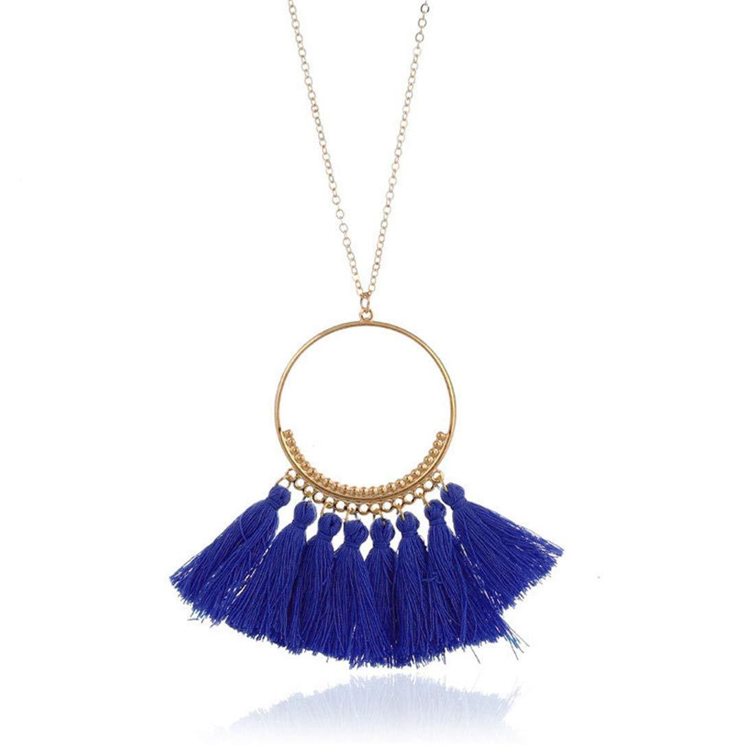 lehao Vintage Bohemian Tassel Pendant Necklace Thread Fringe Long Necklaces Pendants Charm Jewelry For Women,Sapphire