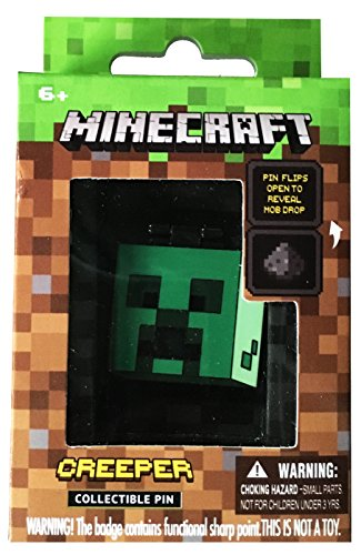 ThinkGeek Minecraft Mob Drop Pin: Creeper with Gunpowder - Secures with Metal Backing, Great Minecraft Collectible Stocking - Novelty Minecraft