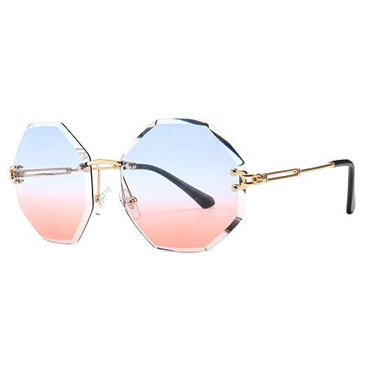 Yangjing-hl Gafas de Sol sin Marco Gafas de Sol Redondas ...