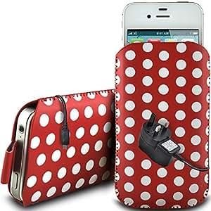 Direct-2-Your-Door - Nokia Lumia 720 de protección pu Polka de cuero con cremallera diseño antideslizante de cordón en la bolsa del caso con cierre rápido y Mains CE Cargador - Rojo