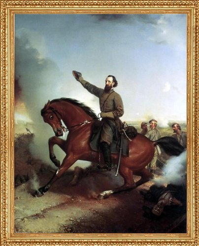 """Art Oyster Louis-Mathieu-Didier Guillaume Stonewall Jackson at The Battle of Winchester Virginia - 18.05"""" x 24.05"""" Premium Canvas Print with Antique Gold Finish Frame"""