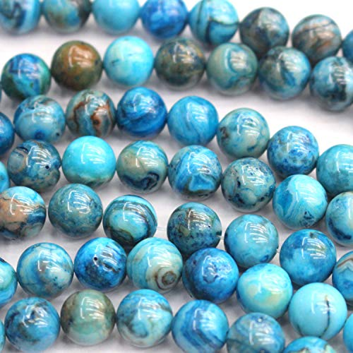 Tacool Natural Gemstone Beads Round 8mm 6mm for DIY Necklace Jewelry Making Beads (Crazy Lace Agate, Dyed 8mm)