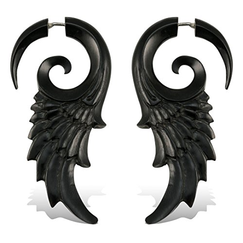 (Fake Plugs Earrings Hand Carved Horn Flared Wings Faux Gauges)